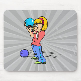 funny bowling mishap cartoon humor graphic mouse pad
