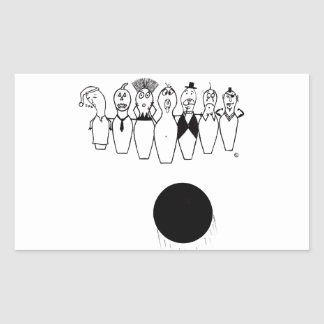 Funny bowling pin characters rectangular sticker