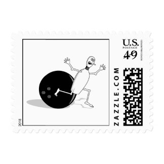 funny bowling pin running from ball postage stamp