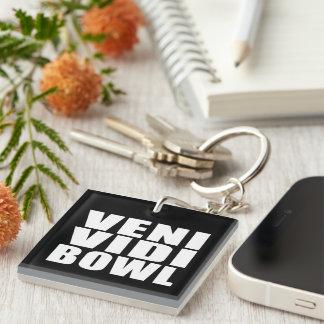 Funny Bowling Quotes Jokes : Veni Vidi Bowl Single-Sided Square Acrylic Keychain