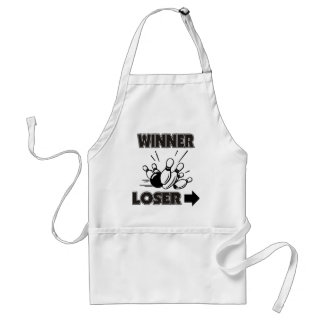 Funny Bowling Winner Loser Adult Apron