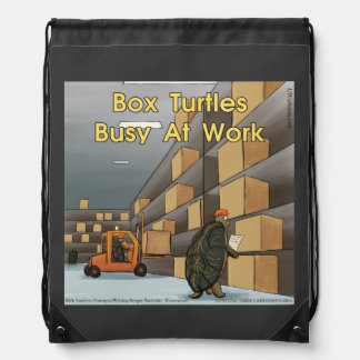 Funny Box Turtle Drawstring Backpack