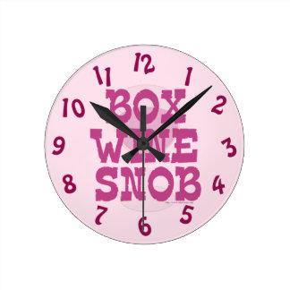 Funny Box Wine Snob Time Round Clock