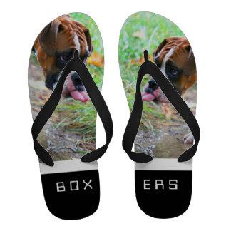 Funny Boxer Dog Photo Flip Flops Sandals