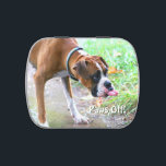 """Funny Boxer Dog Tongue Paws Off Jelly Beans Tin<br><div class=""""desc"""">Cute boxer dog with tongue sticking out jelly beans candy tin with the text Paws Off!  It can be personalized; add your own text if you like.  Would make a fun gift for an animal or dog lover.  We affectionately call this doggy,  Dusty Dumb Dufus Dog.</div>"""