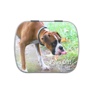 Funny Boxer Dog Tongue Paws Off Jelly Beans Tin