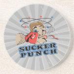 funny boxing sucker punch cartoon beverage coasters