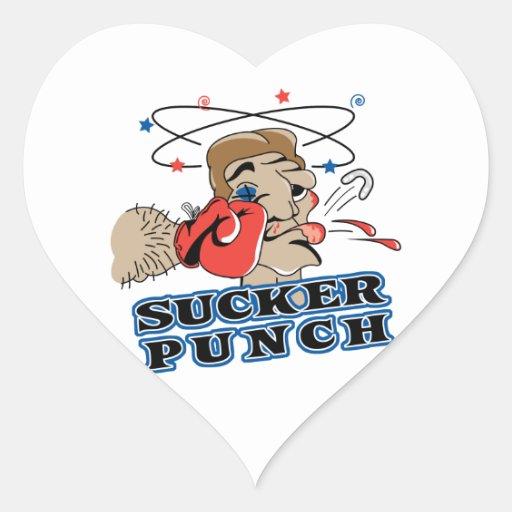 funny boxing sucker punch cartoon heart sticker