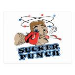 funny boxing sucker punch cartoon postcard