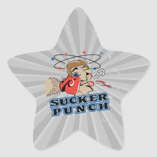funny boxing sucker punch cartoon star sticker