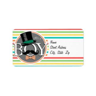 Funny Boy Baby Shower Bright Rainbow Stripes Address Label