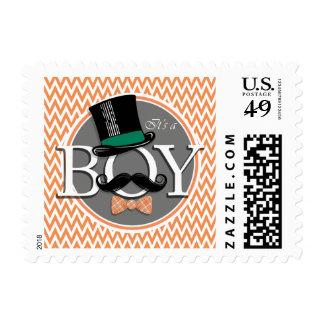 Funny Boy Baby Shower; Orange and White Chevron Postage Stamp