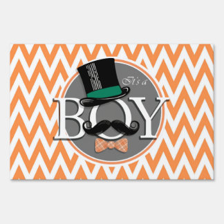Funny Boy Baby Shower; Orange and White Chevron Lawn Sign