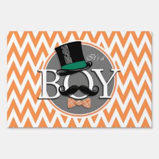 Funny Boy Baby Shower; Orange and White Chevron Yard Signs