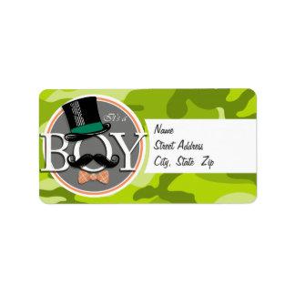 Funny Boy; bright green camo, camouflage Address Label