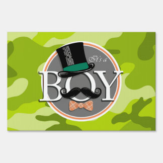 Funny Boy; bright green camo, camouflage Lawn Signs
