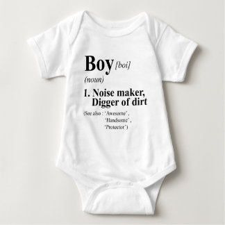 Funny Boy Meaning Dictionary Style Baby Bodysuit