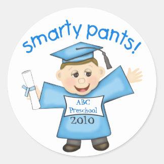 Funny Boy's Graduation Classic Round Sticker