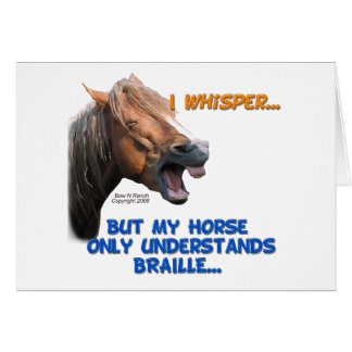 Funny Braille Horse Greeting Cards