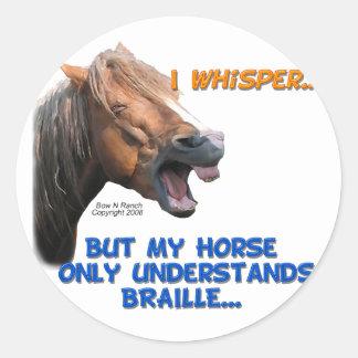 Funny Braille Horse Round Sticker