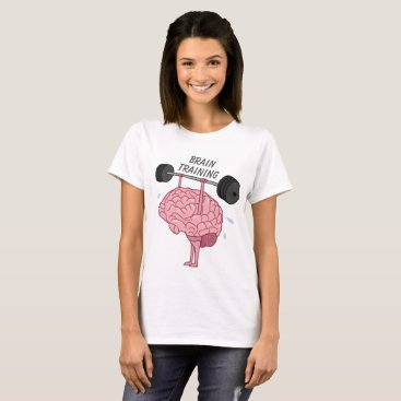 Beach Themed Funny Brain Training Workout Barbell T-Shirt