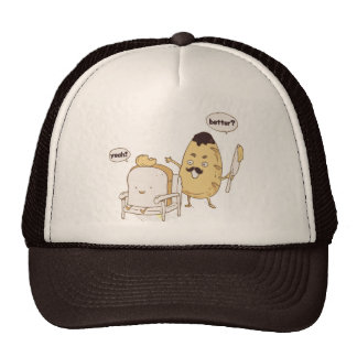 Funny Bread and Butter Haircut Cartoon Trucker Hat