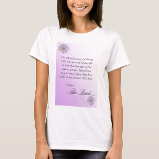 Funny Bridal Contract t-shirt, lavendar with daisy T-Shirt