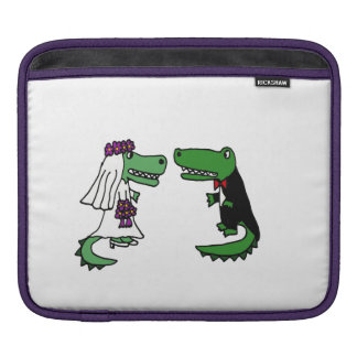 Funny Bride and Groom Alligator Wedding Art Sleeve For iPads