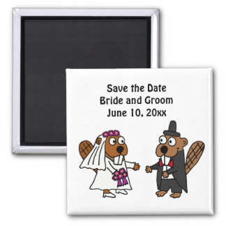 Funny Bride and Groom Beaver Wedding Design 2 Inch Square Magnet