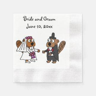 Funny Bride and Groom Beaver Wedding Design Paper Napkin