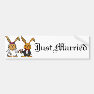 Funny Bride and Groom Brown Rabbit Wedding Cartoon Bumper Sticker