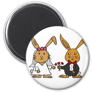 Funny Bride and Groom Brown Rabbit Wedding Cartoon Magnet