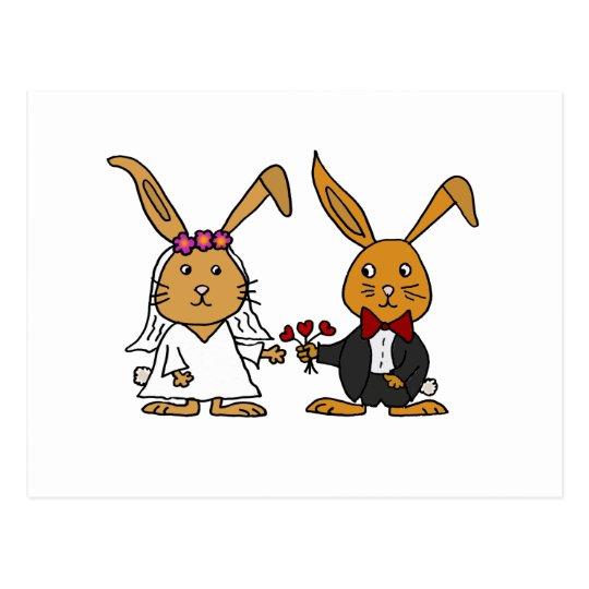Funny Bride And Groom Brown Rabbit Wedding Cartoon Postcard Zazzlecom