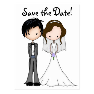 Funny Bride and Groom Cartoon Save the Date Postcard