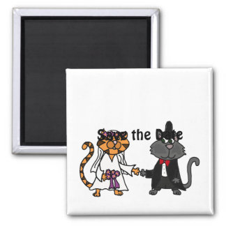 Funny bride and groom Cat Wedding Art 2 Inch Square Magnet