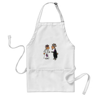 Funny Bride and Groom Goat Wedding Adult Apron