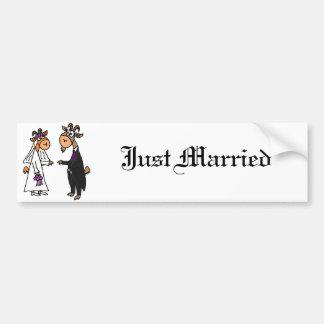 Funny Bride and Groom Goat Wedding Bumper Sticker