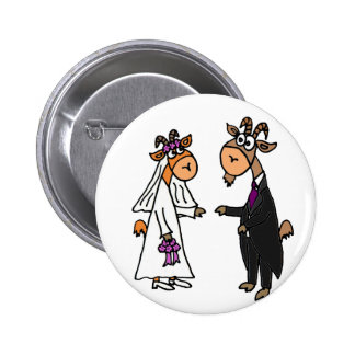 Funny Bride and Groom Goat Wedding Button