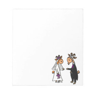 Funny Bride and Groom Goat Wedding Memo Note Pads