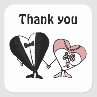 Funny Bride and Groom Hearts Art Square Sticker