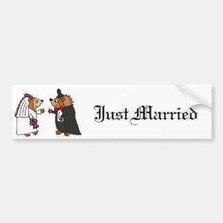 Funny Bride and Groom Hedgehog Wedding Art Bumper Sticker