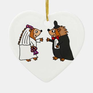 Funny Bride and Groom Hedgehog Wedding Art Ceramic Ornament