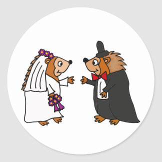 Funny Bride and Groom Hedgehog Wedding Art Classic Round Sticker