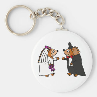 Funny Bride and Groom Hedgehog Wedding Art Key Chains