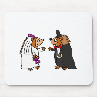 Funny Bride and Groom Hedgehog Wedding Art Mouse Pad
