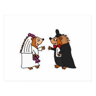 Funny Bride and Groom Hedgehog Wedding Art Postcard