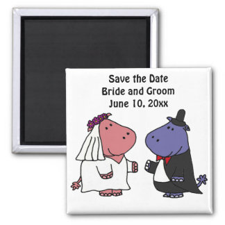 Funny Bride and Groom Hippo Wedding Cartoon 2 Inch Square Magnet