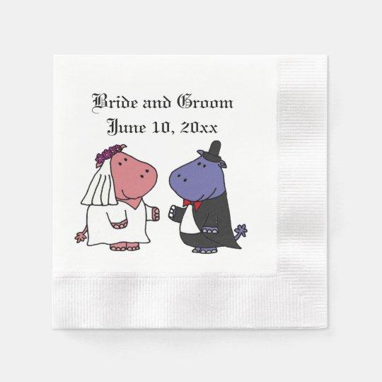 Funny Bride And Groom Hippo Wedding Cartoon Paper Napkin Zazzlecom