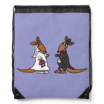 Funny Bride and Groom Kangaroo Wedding Design Drawstring Backpack