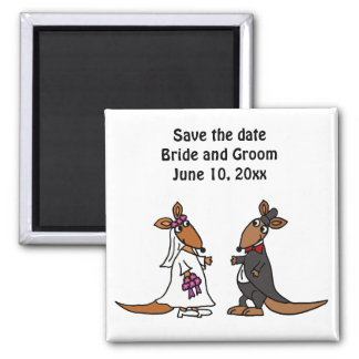 Funny Bride and Groom Kangaroo Wedding Design Magnet
